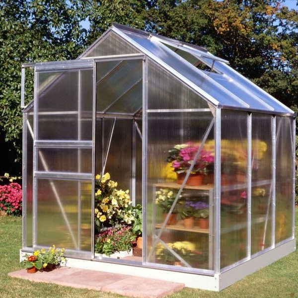 6ft Wide 4ft Long Halls Popular Greenhouse in Silver